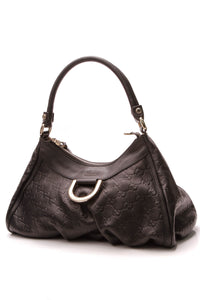 Gucci D-Ring Small Hobo Bag Black Guccissima