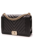 Chanel Chevron New Medium Boy Bag Black