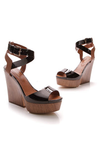 Sergio Rossi Wooden Platform Sandals Black Brown Size 41