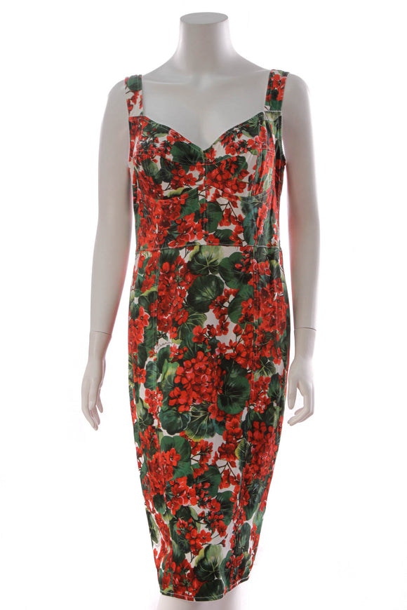 Dolce and Gabbana Geranium Print Cady Bustier Dress Red White Size 50