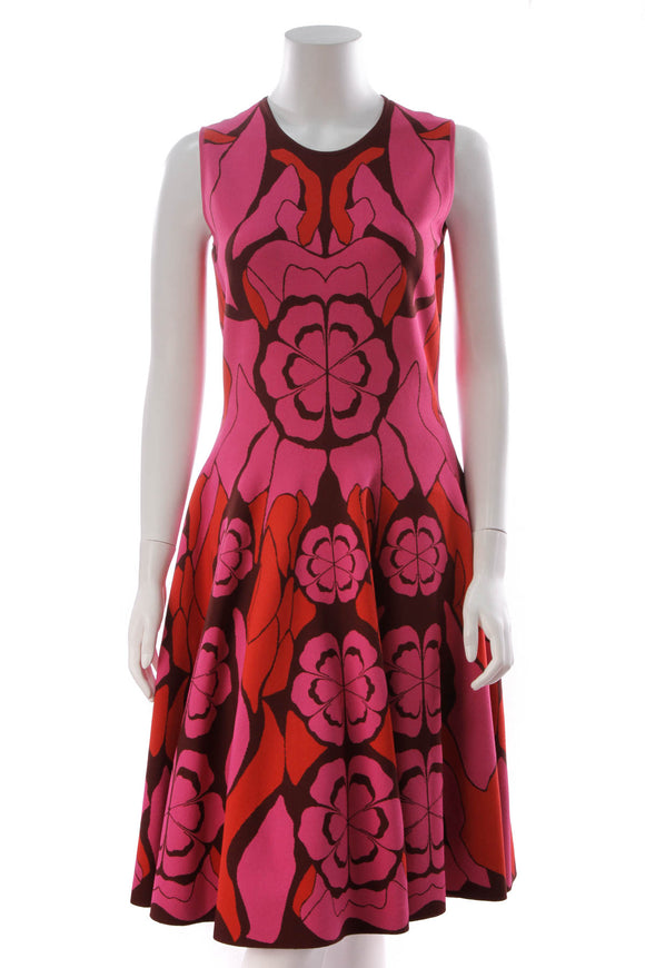 Alexander McQueen Floral A-Line Dress Fuchsia Size Extra Large