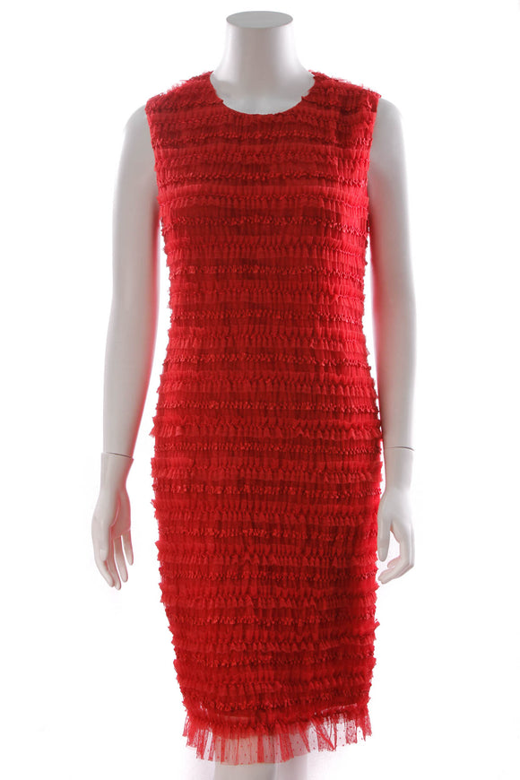Givenchy Mini Ruffle Dress Red Size 44