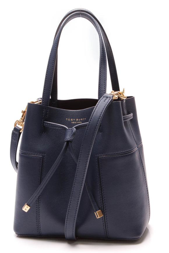 Tory Burch Block-T Small Bucket Bag Royal Navy