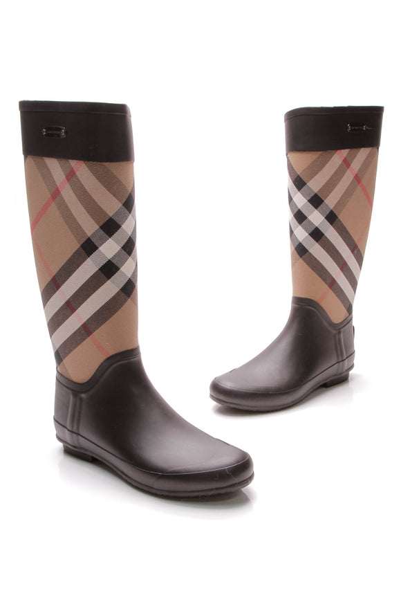 Burberry Clemence Rain Boots House Check Black Brown