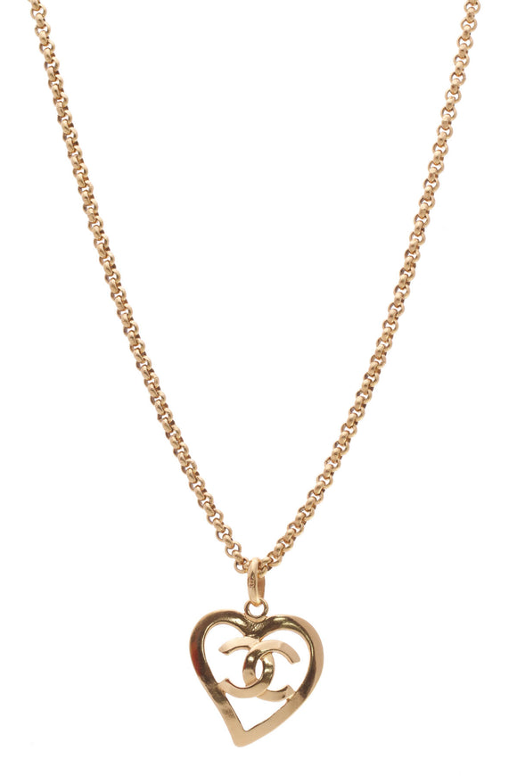 Chanel Vintage CC Heart Necklace Gold