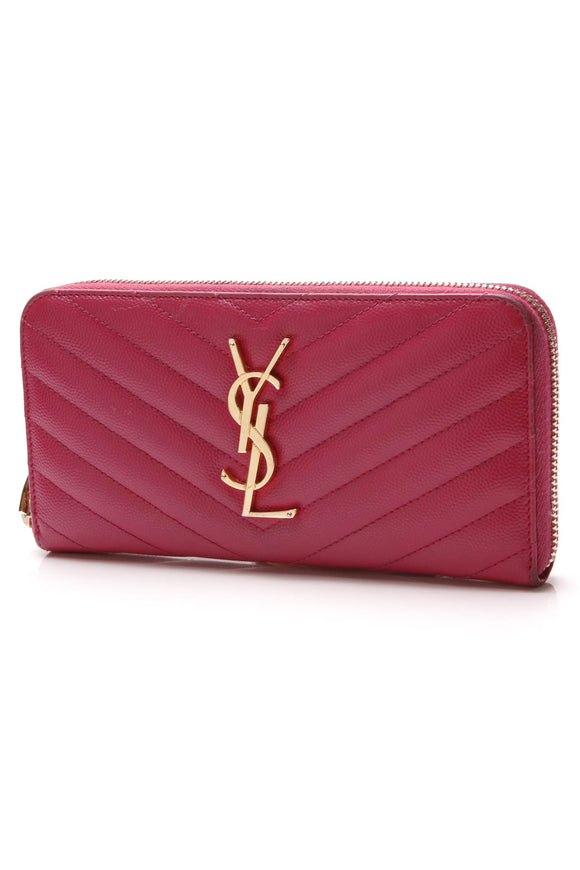 Yves Saint Laurent YSL Monogram Zip-Around Wallet Dark Pink