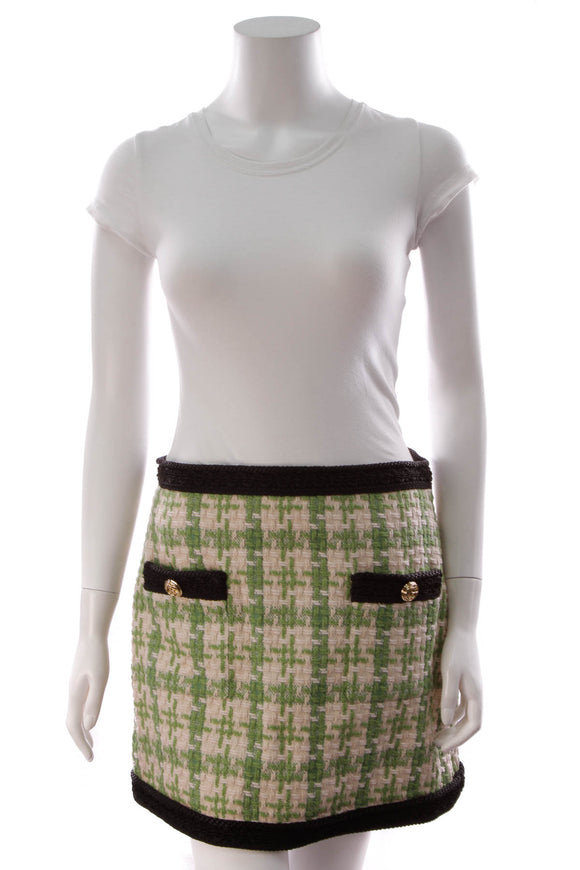 Gucci Tweed Mini Skirt Green Off White Size 44