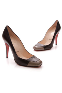 Christian Louboutin Lady Grant Pumps Black Taupe Size 39