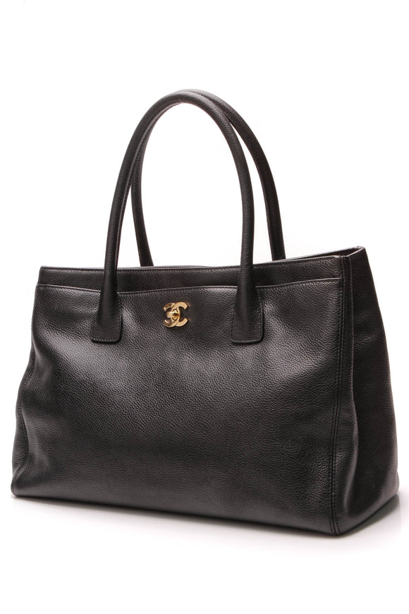 Chanel Cerf Shopping Tote Bag Black Caviar