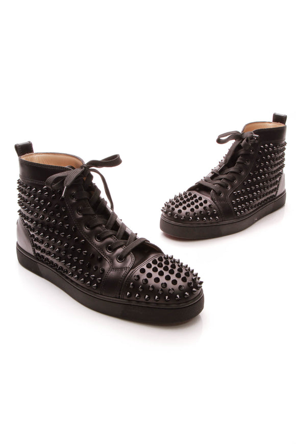 Christian Louboutin Louis Spike High Top Men's Sneakers Black US Size 9.5