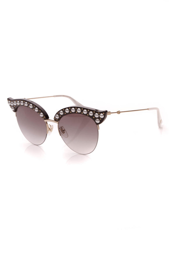 Gucci Faux Pearl Cat Eye Sunglasses GG0212S Gold Black