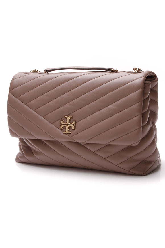 Tory Burch Kira Chevron Convertible Flap Bag Classic Taupe