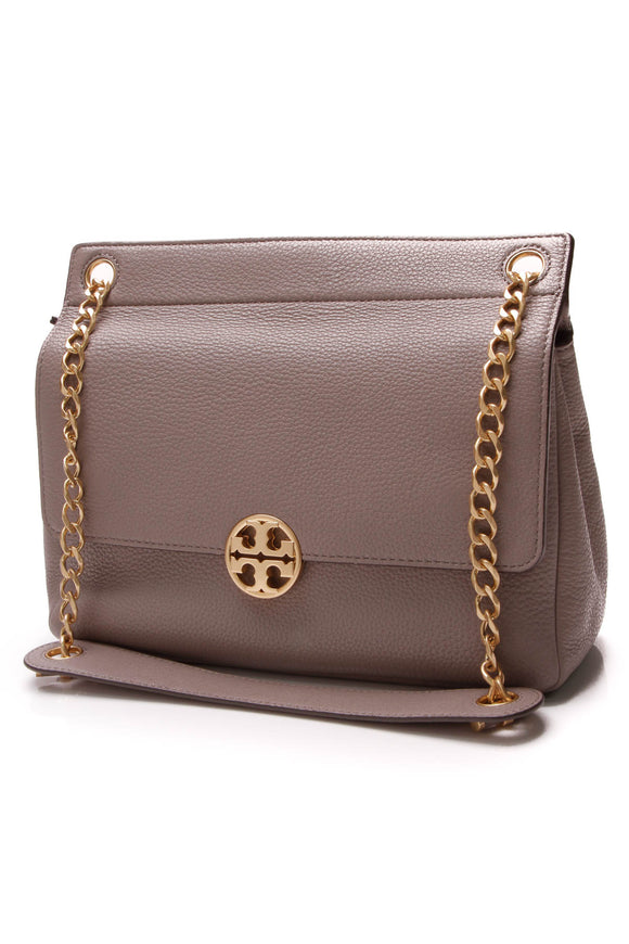Tory Burch Chelsea Flap Shoulder Bag Gray Heron