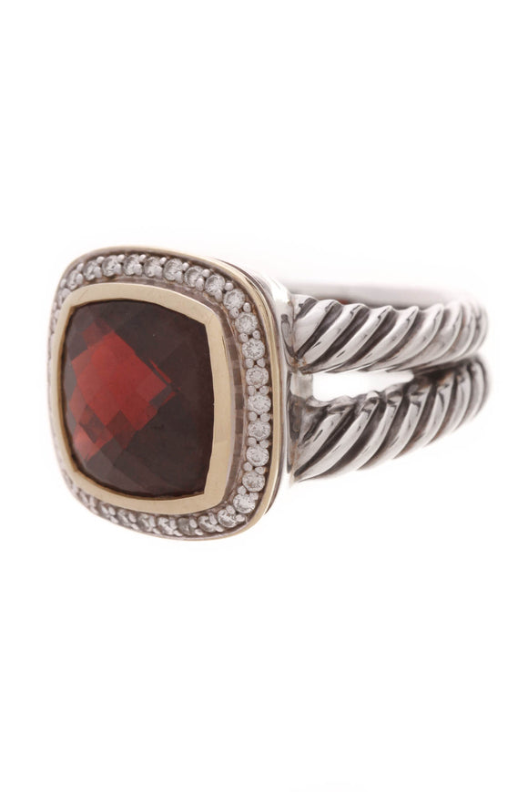 David Yurman Garnet & Diamond 11mm Albion Ring Silver Gold Size 7