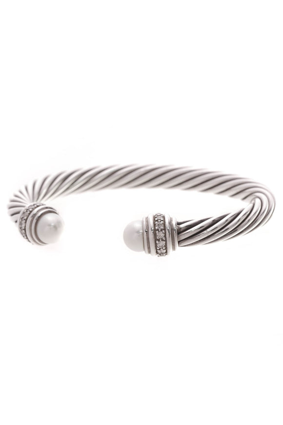 David Yurman 7mm Pearl & Diamond Cable Cuff Bracelet Silver