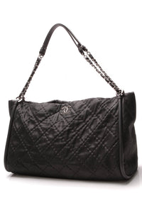 Chanel Quilted Shopping Tote Bag Metallic Black