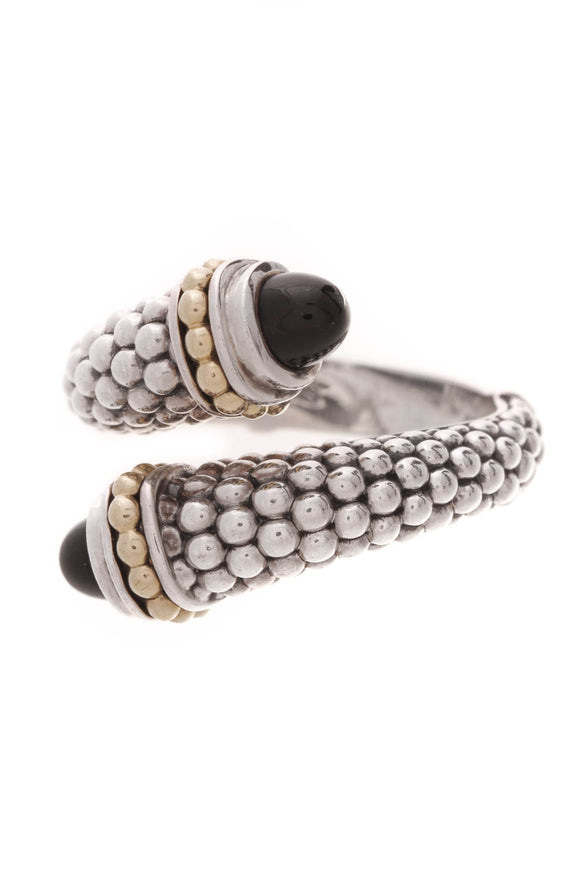 Lagos Caviar Onyx Crossover Ring Silver Gold Ring Size 7