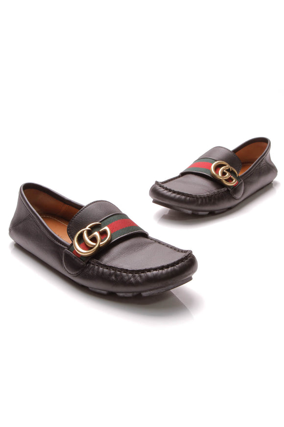 Gucci Marmont Web Driver Loafers Black Size 37.5