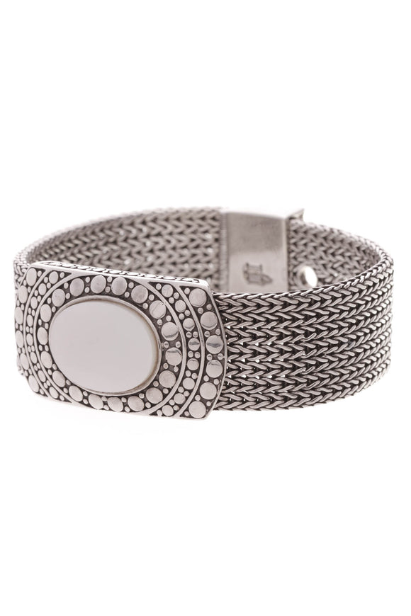 John Hardy Dots Mesh Mother of Pearl Bracelet Silver