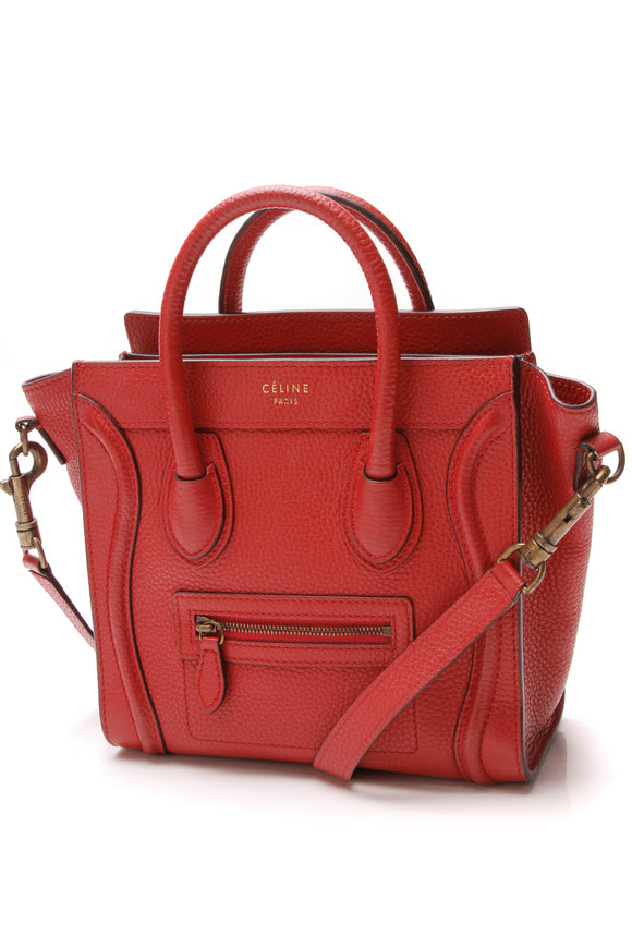 Celine Nano Luggage Tote Bag Red