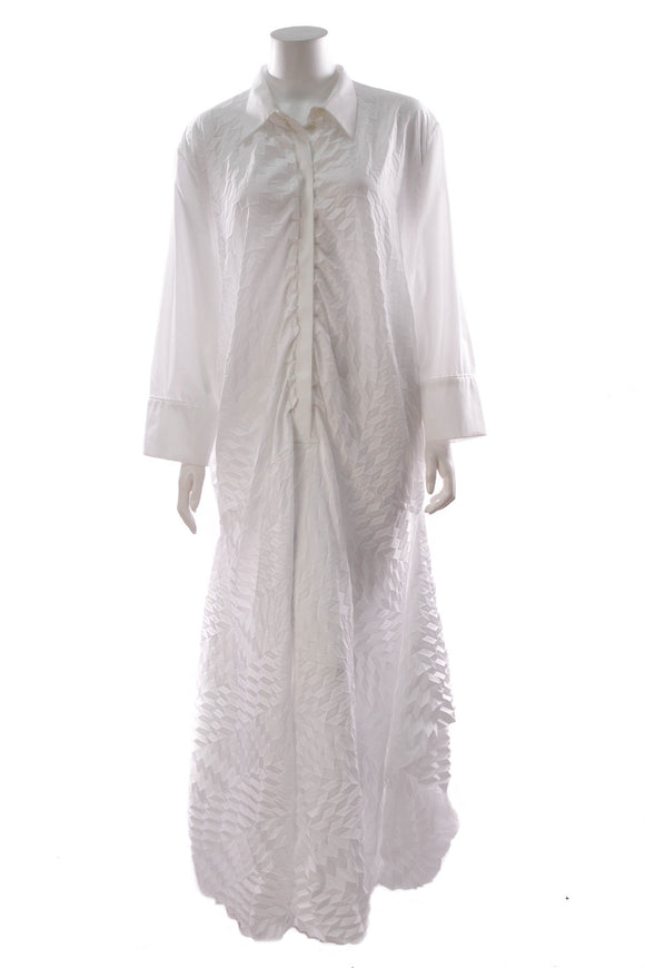 Roland Mouret Penhale Long Shirt Dress White Size 16