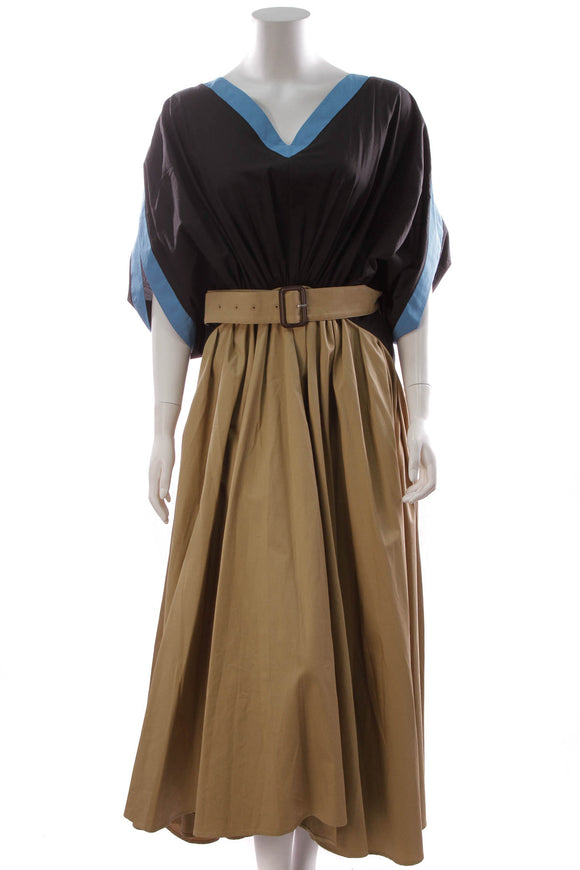 JW Anderson Colorblock Belted Midi Dress Black Sand Size 8