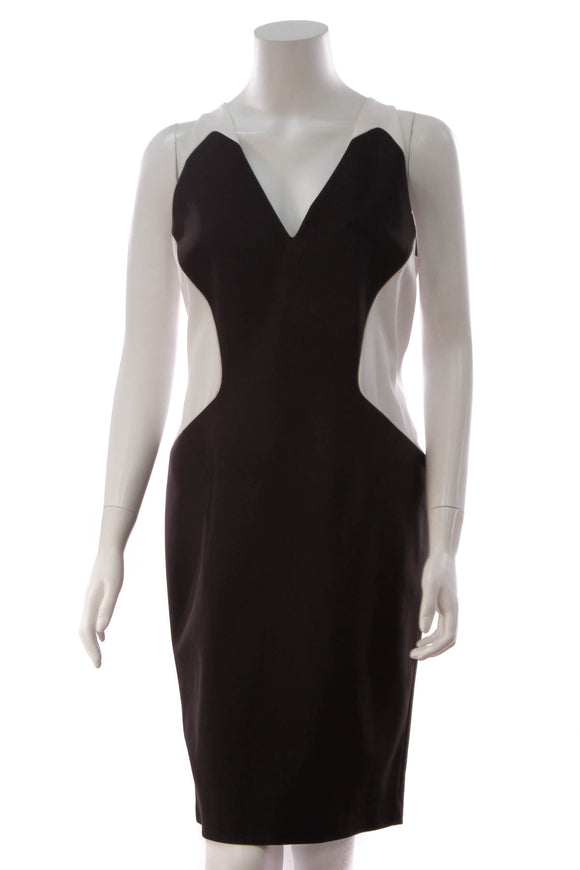 Mugler Colorblock Bodycon Dress Black White Size 44