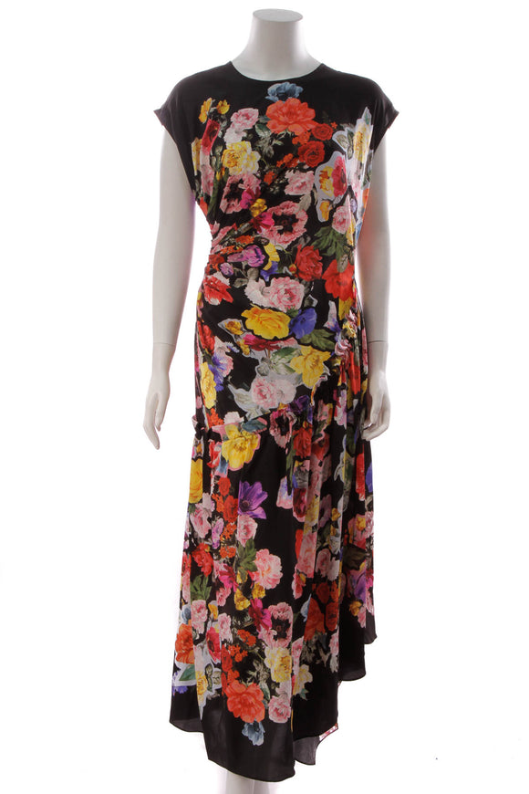 Preen Ruched Floral Dress Multicolor Size Extra Large