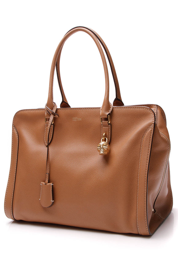 Alexander McQueen Skull Padlock Large Zip Around Tote Bag Cognac Brown