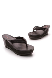 Prada Platform Thong Wedge Sandals Black Size 39.5