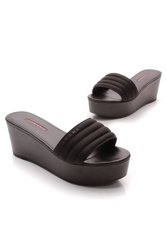 Prada Nastro Nylon Wedge Sandals Black Size 39.5