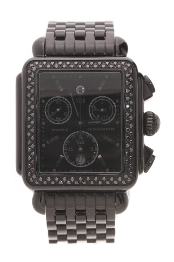 Michele Black Diamond Deco Day Chronograph Watch Black Steel