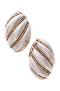 Tiffany & Co. Twist Rope Shell Earrings Silver Gold