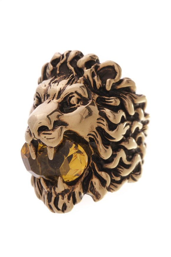 Gucci Crystal Lion Head Ring Aged Gold Size 7.5