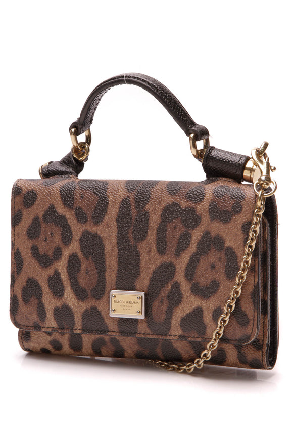 Dolce and Gabbana Miss Sicily Wallet on a Chain Bag Leopard Print