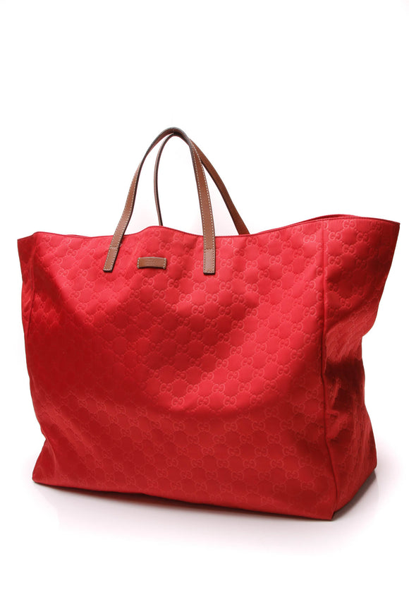 Gucci Guccissima Large Tote Bag Red Nylon