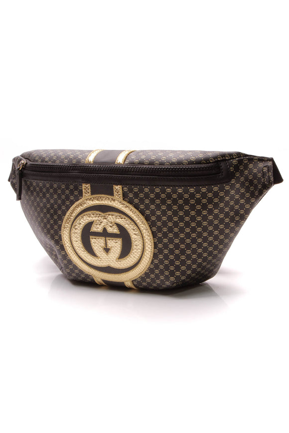 Louis Vuitton Dapper Dan Belt Bag Black Gold