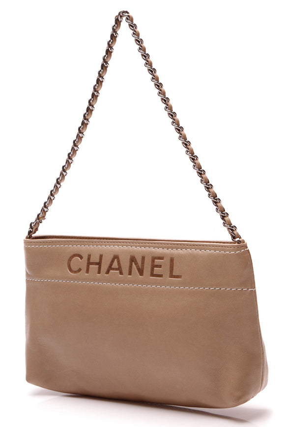 Chanel LAX Pochette Clutch Bag Taupe