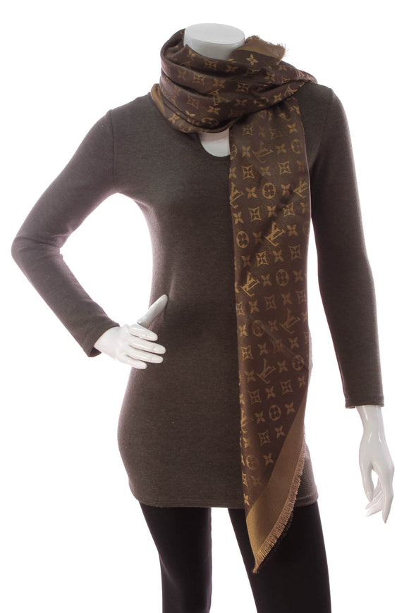 Louis Vuitton Monogram Shine Shawl Scarf Brown