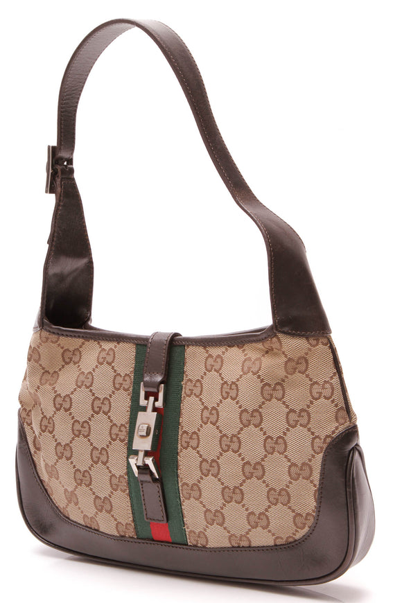 Gucci Web Jackie Small Hobo Bag Signature Canvas Beige