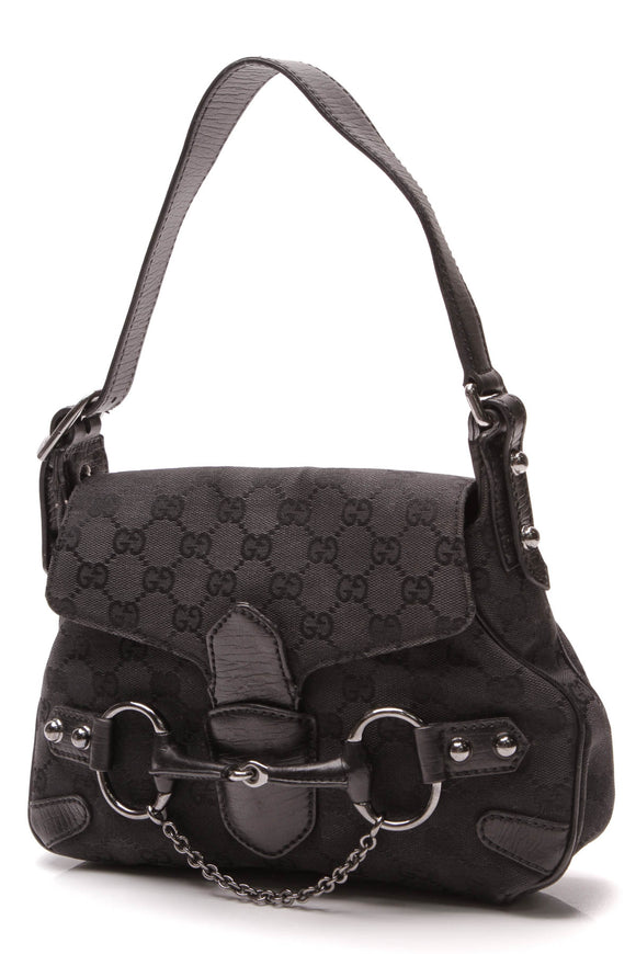 Gucci Horsebit Chain Small Shoulder Bag Black Signature Canvas