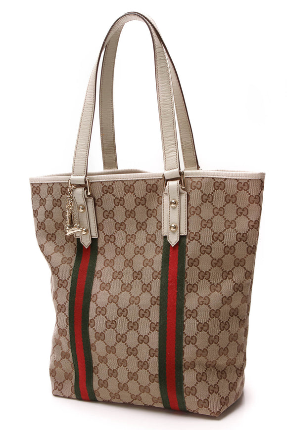 Gucci Jolicoeur Charms Tall Tote bag Signature Canvas Beige Ivory