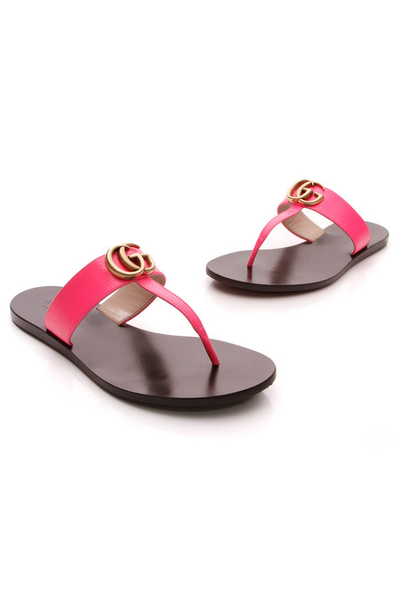 Gucci Marmont Thong Sandals Hot Pink Size 36.5
