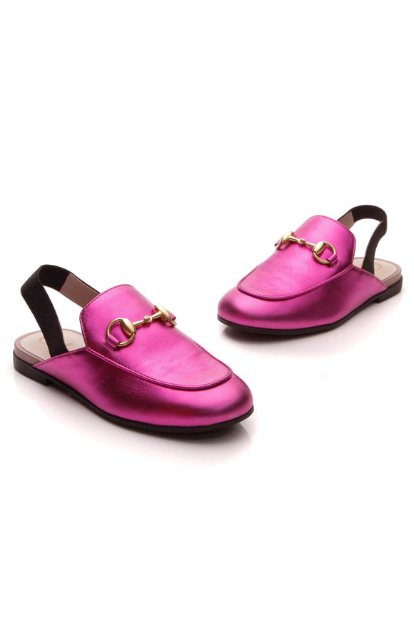 Gucci Princetown Children's Slippers Fuschia Size 27