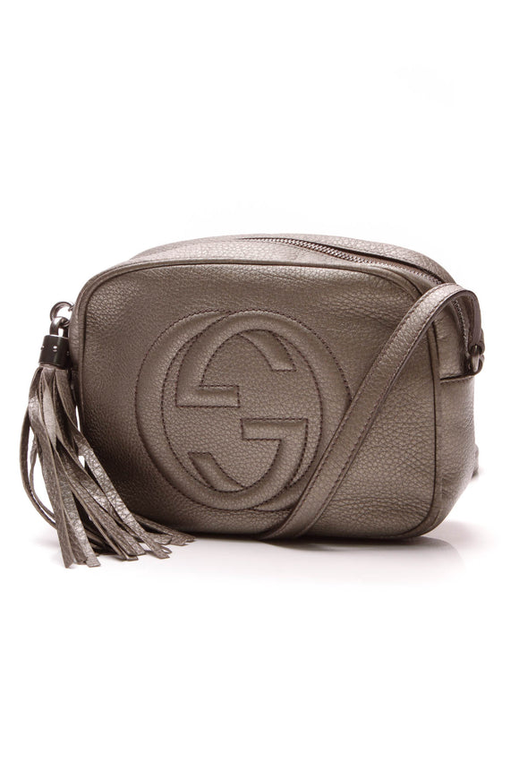 Gucci Soho Disco Crossbody Bag Metallic Gray