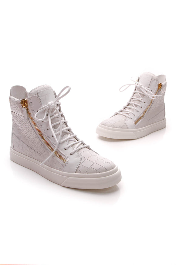 Giuseppe Zanotti Embossed High-Top Men's Sneakers White US Size 7