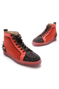 Christian Louboutin Lou Spikes High-Top Men's Sneakers Red Black US Size 9