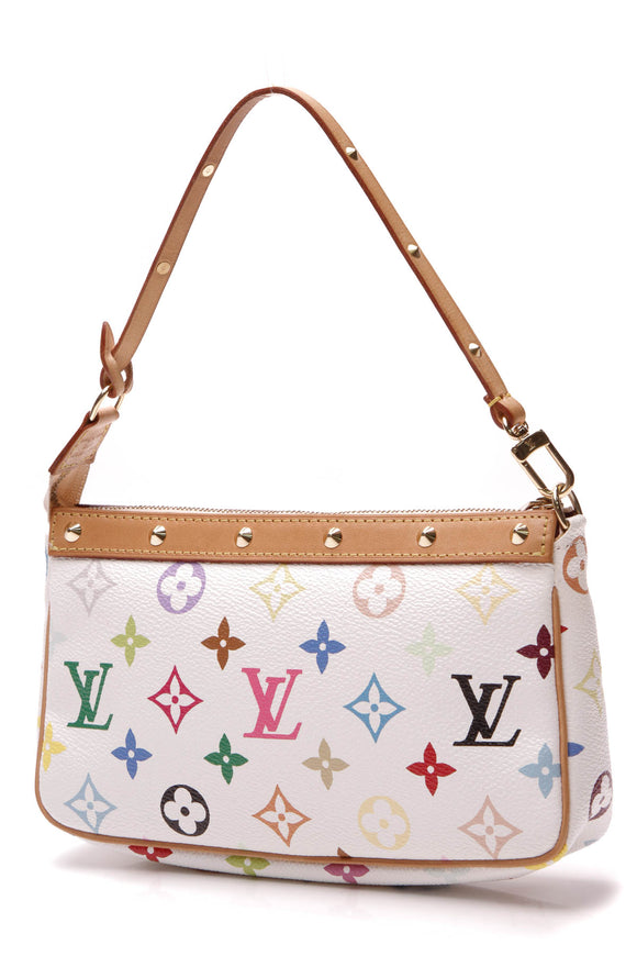 Louis Vuitton Pochette Accessories Bag White Multicolore Monogram