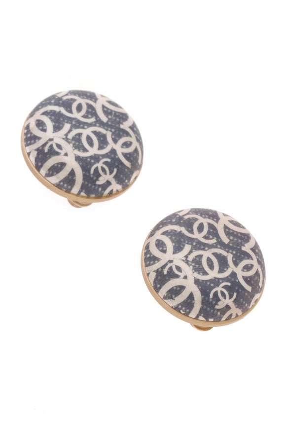 Chanel Logo Clip-On Earrings Gold Navy