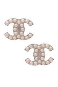 Chanel Pearl Timeless CC Earrings Silver